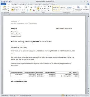 Mahnung Vorlage Word rechnungsvorlage f 252 r word computer bild