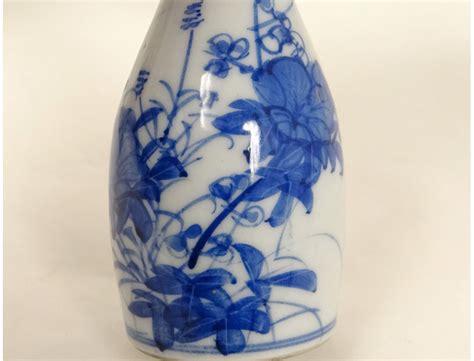 paire petits vases pots porcelaine chinoise blanc bleu fleurs chine xviii 232