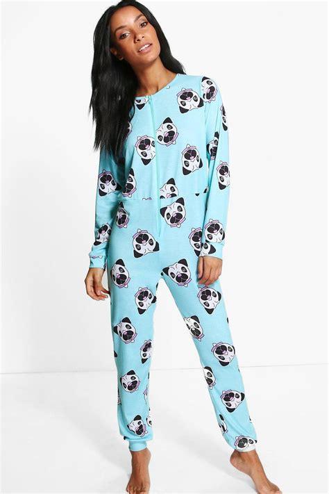 pug onesie australia new boohoo womens pug print onesie in polyester ebay