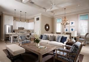 superb Design For Living Room With Open Kitchen #1: Open-space-floor-plans-small-kitchen-beach-style-living-dining-room-decor-ideas.jpg