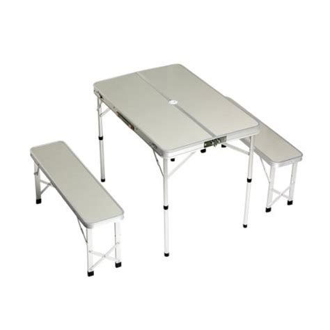 portable bench seats plixio folding aluminum picnic table with 2 bench seats