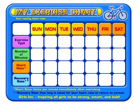 exercise chart printable charts templates forms