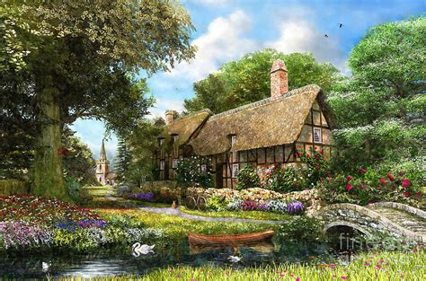 Cottages At Summer by Summer Country Cottage Digital By Dominic Davison