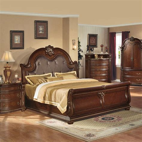 cherry wood sleigh bedroom set dreamfurniture com anondale brown cherry sleigh bedroom set