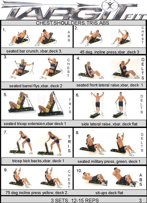 workout charts for the targitfit portable