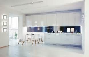 amazing Modern Cabinet Design For Kitchen #3: modern-white-kitchen-cabinet_white-unique-dining-set_dark-backsplash_massive-windows_stainless-steel-hanger-rail_cabinet-lighting-fixtures_unique-square-wall-lights_light-stained-hardwood-floor.jpeg