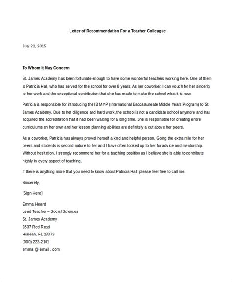 7 sample coworker recommendation letter free sample example