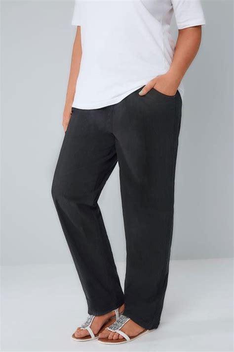 Leg 200 Medium Size Ekman Grab Sler Bottom Grab Sler black cool cotton pull on wide leg trousers with pockets plus size 16 to 36
