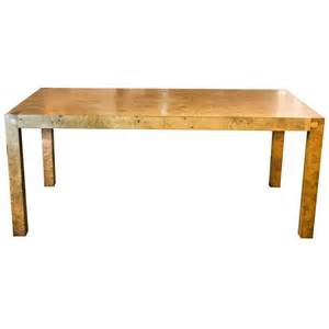 burl wood parsons table or desk in the style of milo