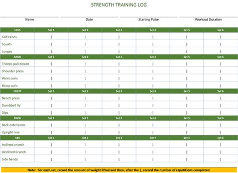 fitness plan template 5 workout log templates to keep track your workout plan