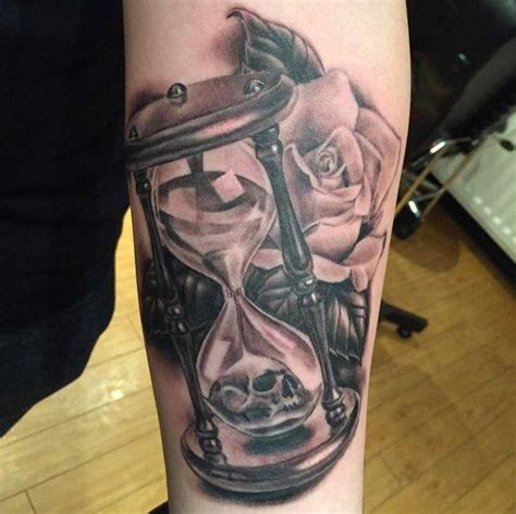 4 grey ink hourglass tattoos