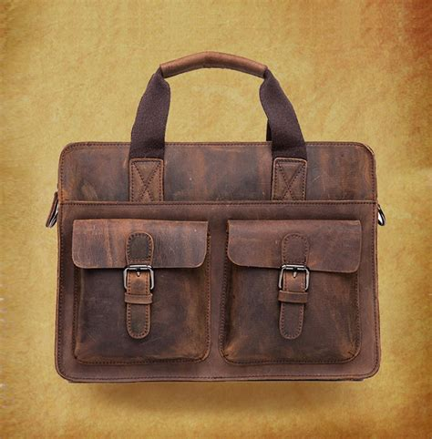 rugged leather bags high quality genuine cow leather bag in coffee rugged leather briefcase backpack messenger