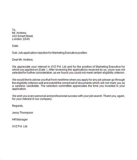 Rejection Letter Template For A Rejection Letter 6 Free Doc
