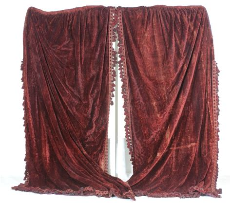 silk velvet curtains pair of victorian deep red silk velvet curtains closely