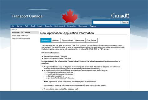 boat registration transport canada application for pleasure craft license