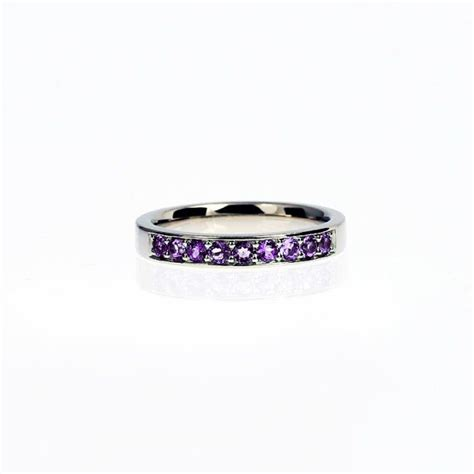 amethyst wedding band white gold ring purple wedding