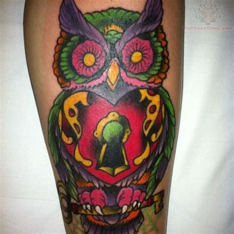 tattoo owl color colored locked owl tattoo