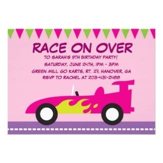 Birthday Invitation Cards Models Girls Love Racing Too Cute Pink Race Car Birthday Party