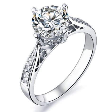 1 carat certified engagement ring on 9ct white