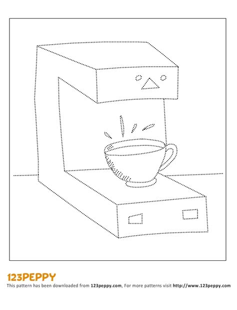 drawing maker printable how to draw pattern coffee maker