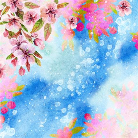 fiori di ciliegio giapponesi fiori di ciliegio giapponesi dell acquerello foto stock