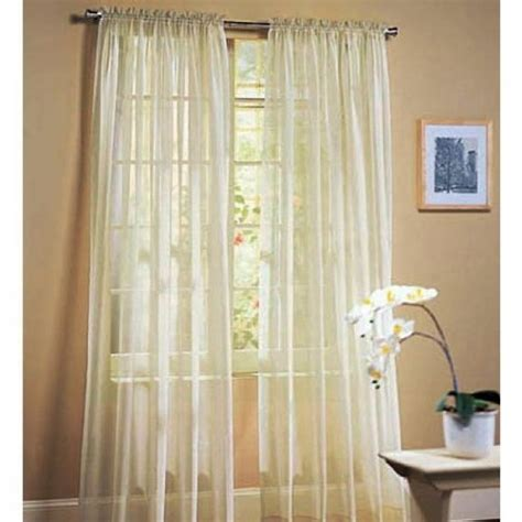 2 piece set 63 long solid sheer curtains panels window