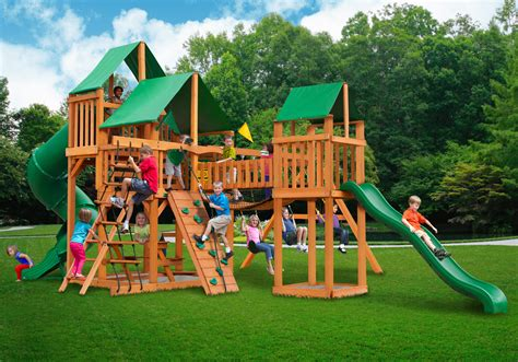 swing sets made in usa treasure trove swing set w deluxe green vinyl canopy