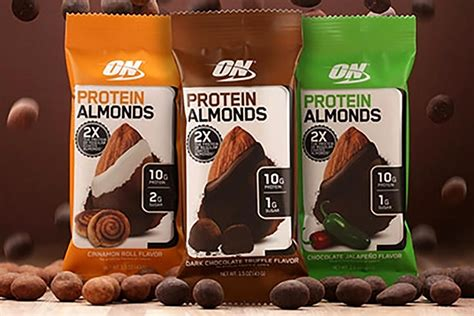 protein almonds optimum protein almonds coming in three coated flavors
