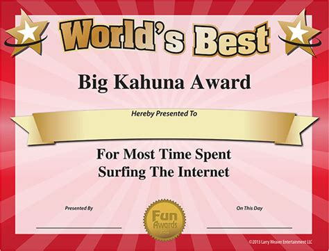free printable award certificates most time spent