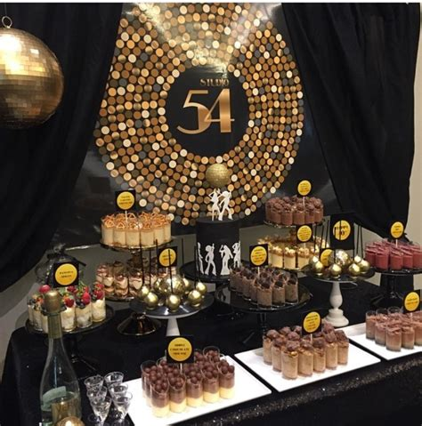 themed party disco studio 54 themed dessert table styling by