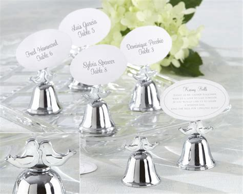 Wedding Favors Bells by Quot Lovebirds Quot Silver Finish Bell Place Card Holder