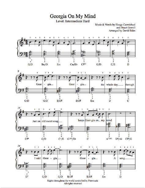 georgia   mind  ray charles piano sheet