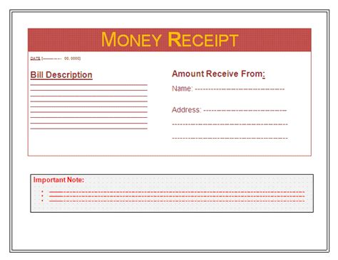 money receipt template free business templates