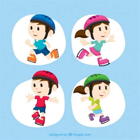 Imagenes Niños Patinando | ni 241 as y ni 241 os patinando descargar vectores gratis