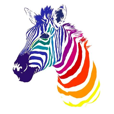 rainbow zebra tattoo for girls