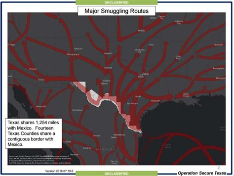 map shows drug smuggling routes into texas used by cartels