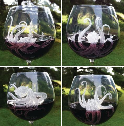octopus home octopus wine glasses octopus beach decor octopus home