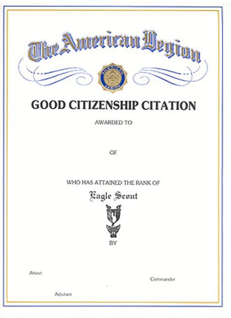 eagle scout certificate american legion flag emblem