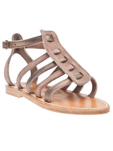 bronze gold sandals k jacques gladiator sandals in gold bronze lyst