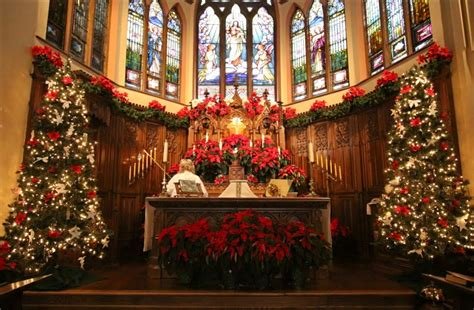 christmas themes church church altar at christmas pictures photos and images for