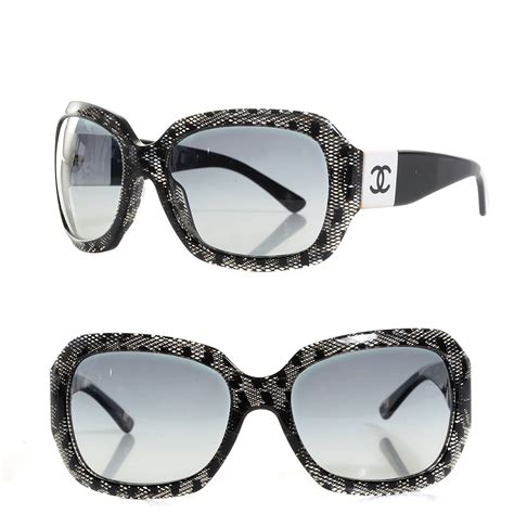 chanel acetate cc lace effect sunglasses 5146 black white