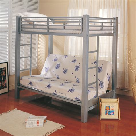 twin metal loft bed twin over futon metal bunk bed in silver bunk beds coa