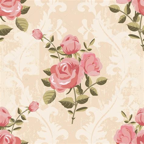 classic rose wallpaper classic rose pattern seamless wallpaper stock vector