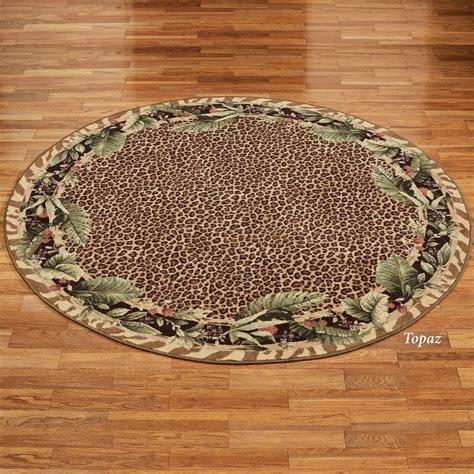 Jungle safari animal print round area rug