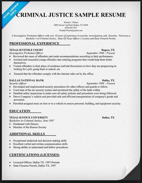 criminal justice resume templates criminal justice resume exles exles of resumes