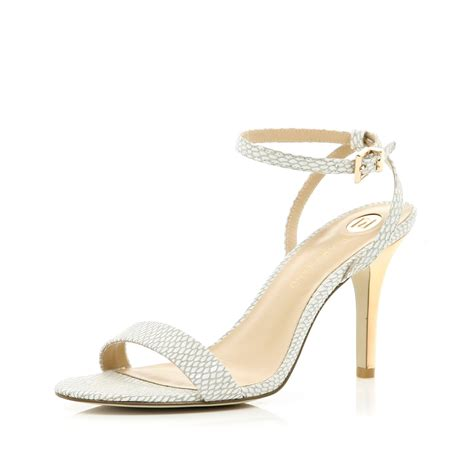 barely there sandals river island white snake barely there sandals in white lyst