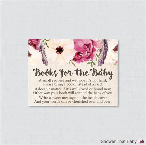 baby shower bring a book instead of a card template boho baby shower printable bring a book instead of a card