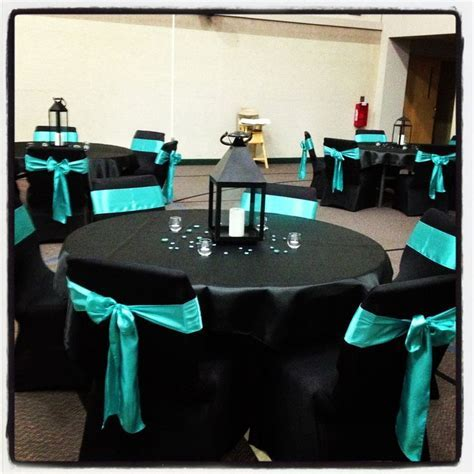 Black and turquoise wedding   table designs   Pinterest