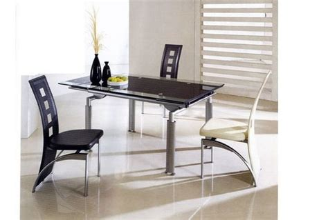 designer glass extending dining table with 6 chairs id