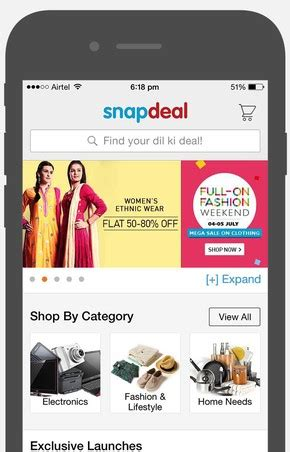 snapdeal mobile app coupons top 10 ecommerce mobile apps based on functionality user